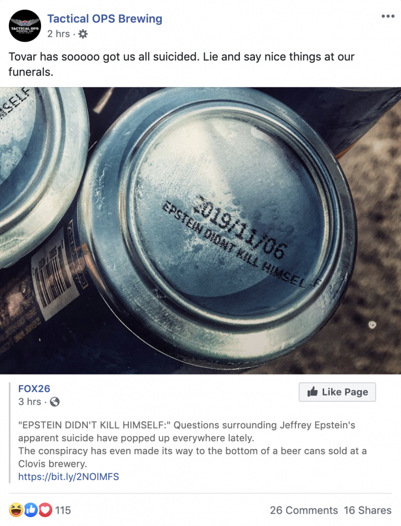 "California Brewery Prints ""Epstein Didn't Kill Himself"" On The Bottom Of Its Cans"