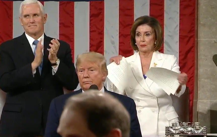 Watch and comment: Pelosi Tears Up Trump's State Of The Union Speech After Handshake Snub