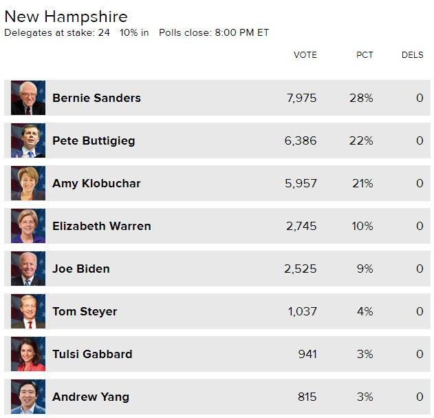 Sanders Dominates New Hampshire Primary As Hunter Biden's Dad Slumps To 5th Place