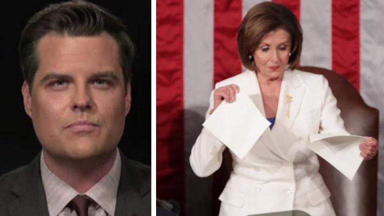 Matt Gaetz Files Ethics Complaint, Criminal Referral Request Against Nancy Pelosi For Tearing Up SOTU Speech