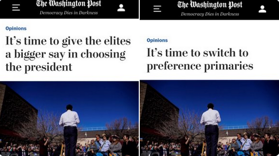 WaPo Claims Elites Should Run Elections; Quietly Edits Article After Public Outrage Ensues