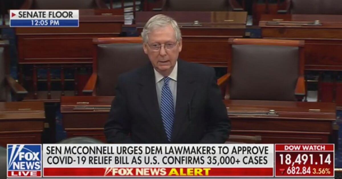An Angry Mitch McConnell Slams Democrats:  Holding up Emergency Relief over Tax Credits for Solar Panels
