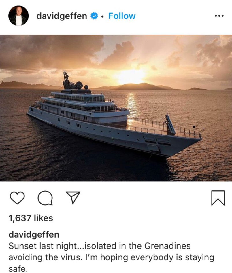 "Billionaire David Geffen Incites Social Media Riot After Posting Photos ""Quarantined"" On His $590 Million Superyacht"
